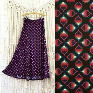 🥀Geometric Print Fold Over Waist Long Skirt 🥀